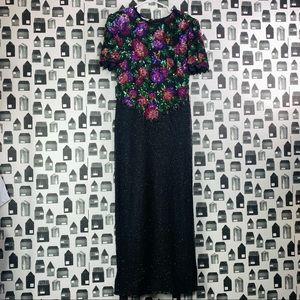 Laurence Kazar Vintage Silk & Sequin Maxi Dress